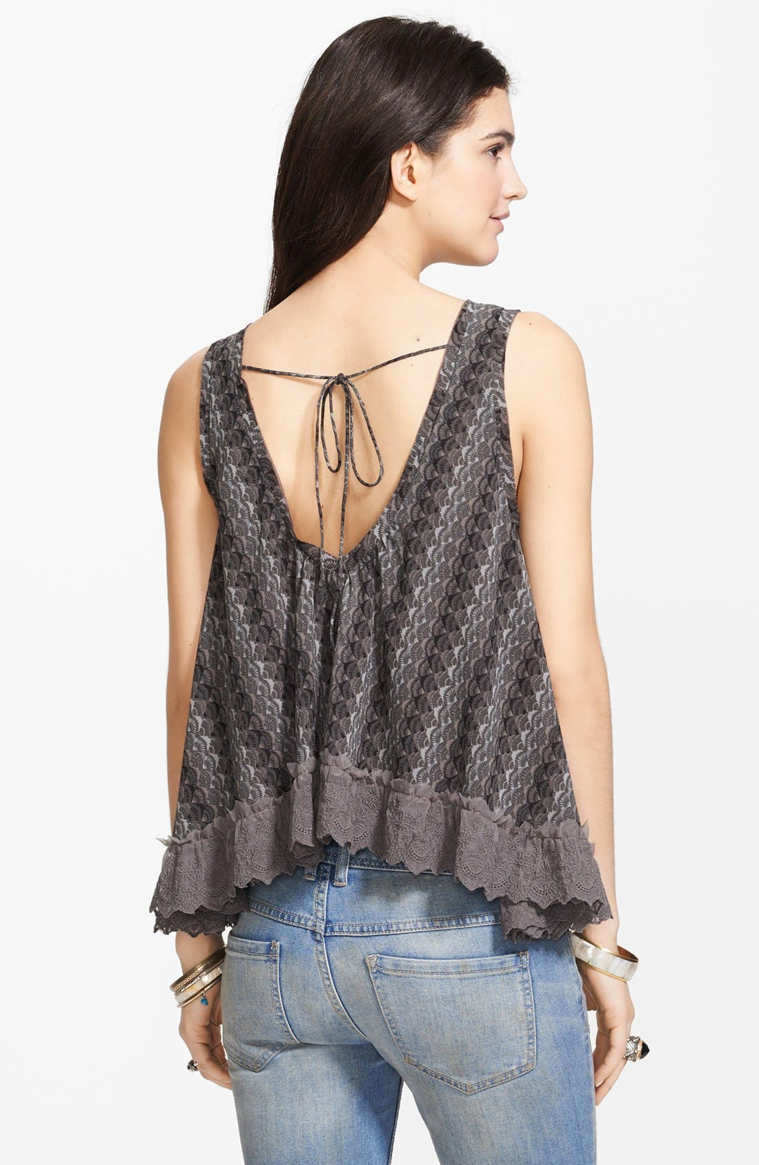 Alternate Image 2  - Free People 'Flutter Fly' Lace Trim Chiffon Top