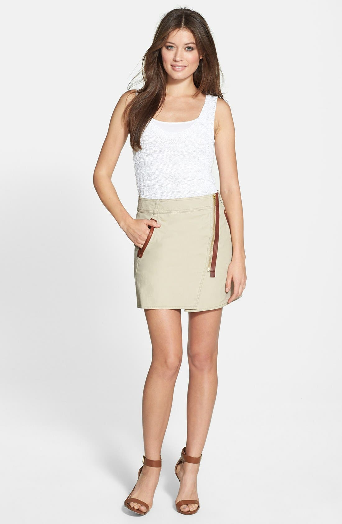 Alternate Image 3  - MICHAEL Michael Kors Asymmetrical Zip Cotton Twill Skirt