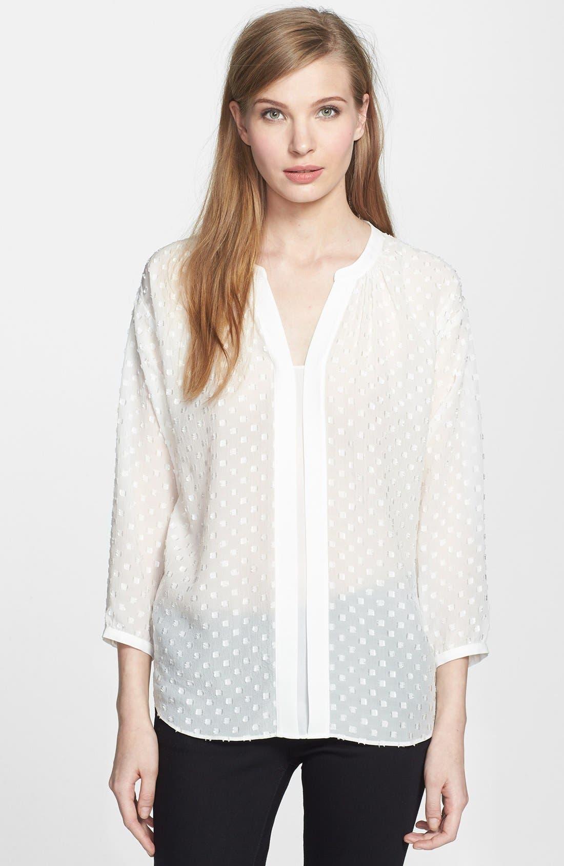 Alternate Image 1 Selected - Rebecca Taylor 'Clip' Dot Silk Blend Blouse