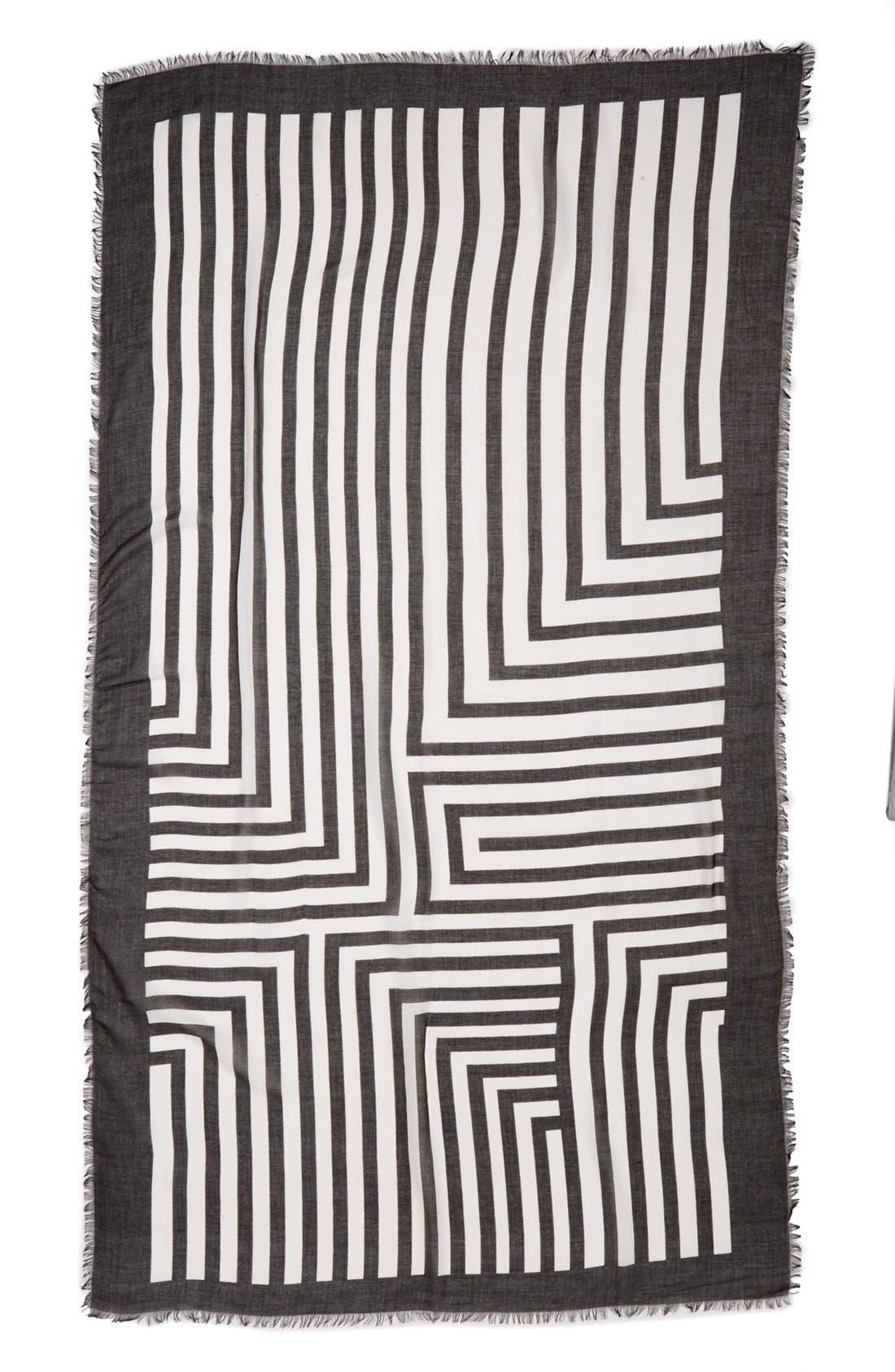 Alternate Image 2  - Vince Camuto Geo Print Stripe Scarf