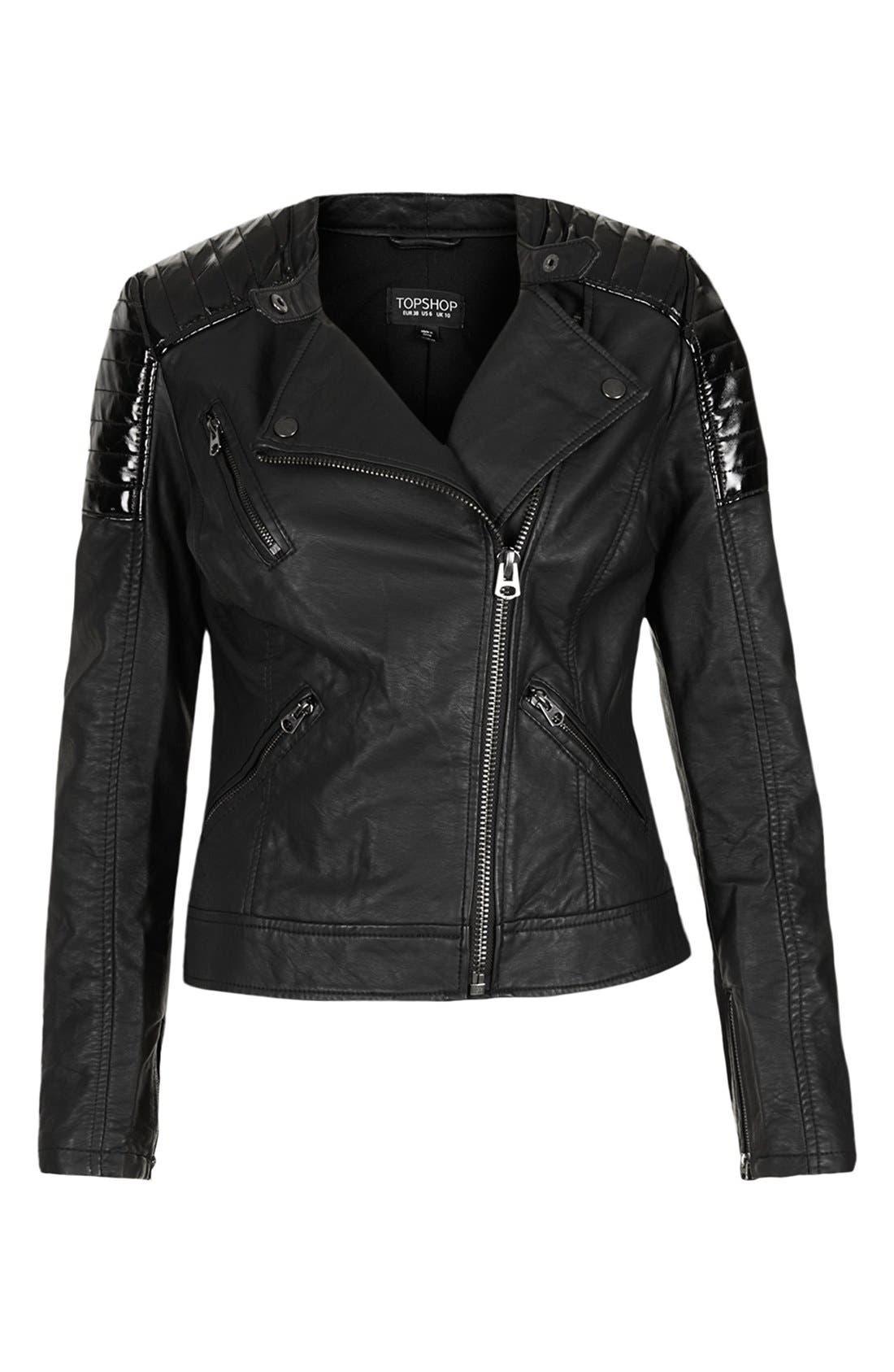 Alternate Image 3  - 'Cherrie' Patent Panel Moto Jacket