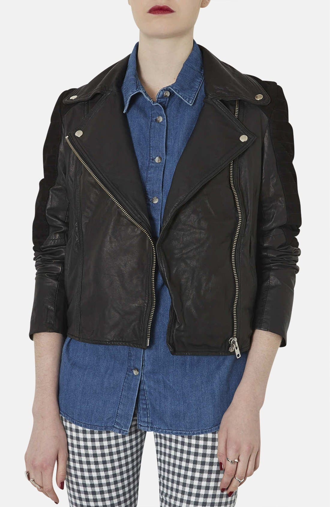 Main Image - Topshop Mixed Leather Biker Jacket