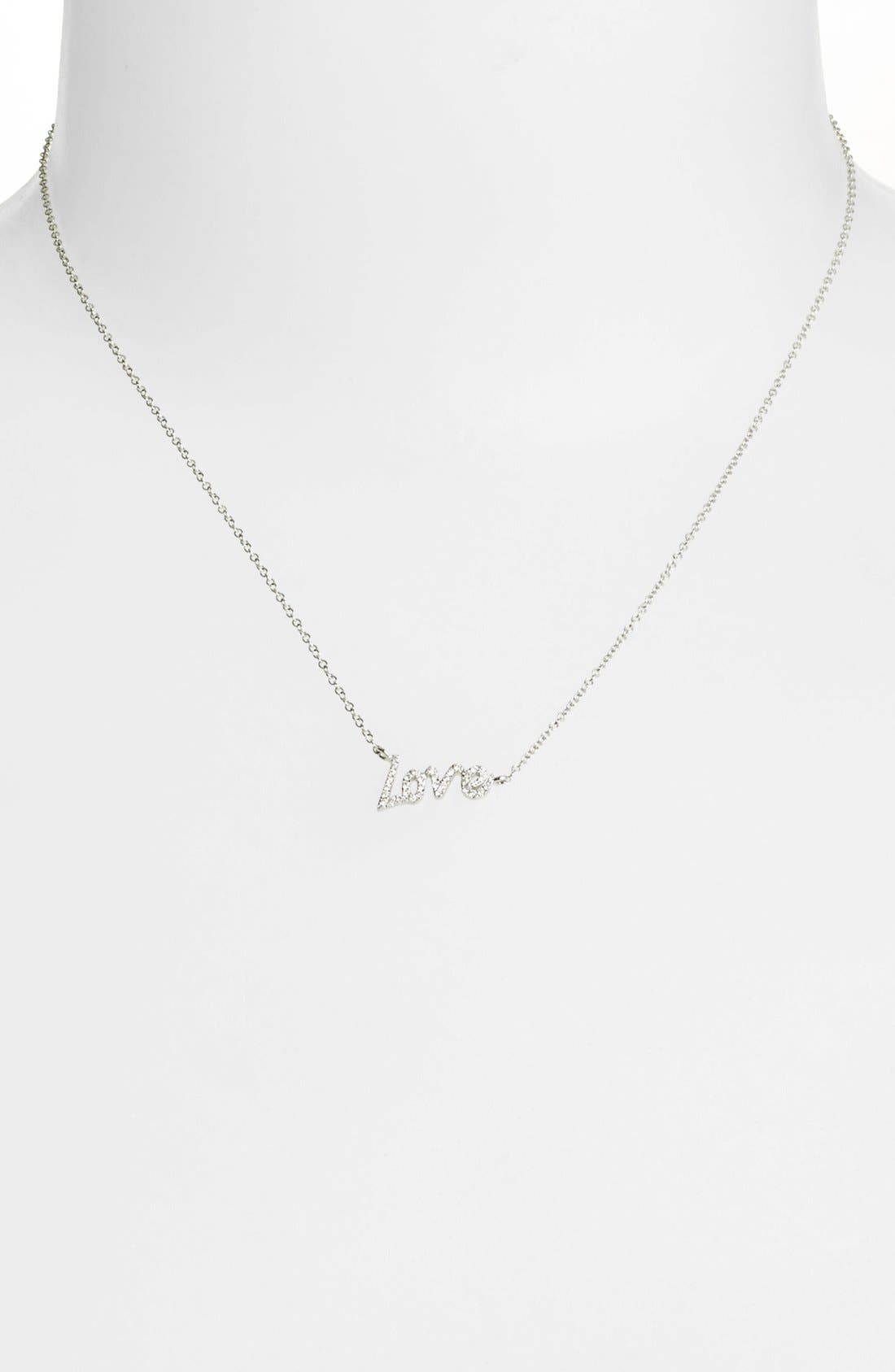 Alternate Image 2  - MeiraT 'Dazzling' Diamond Love Pendant Necklace