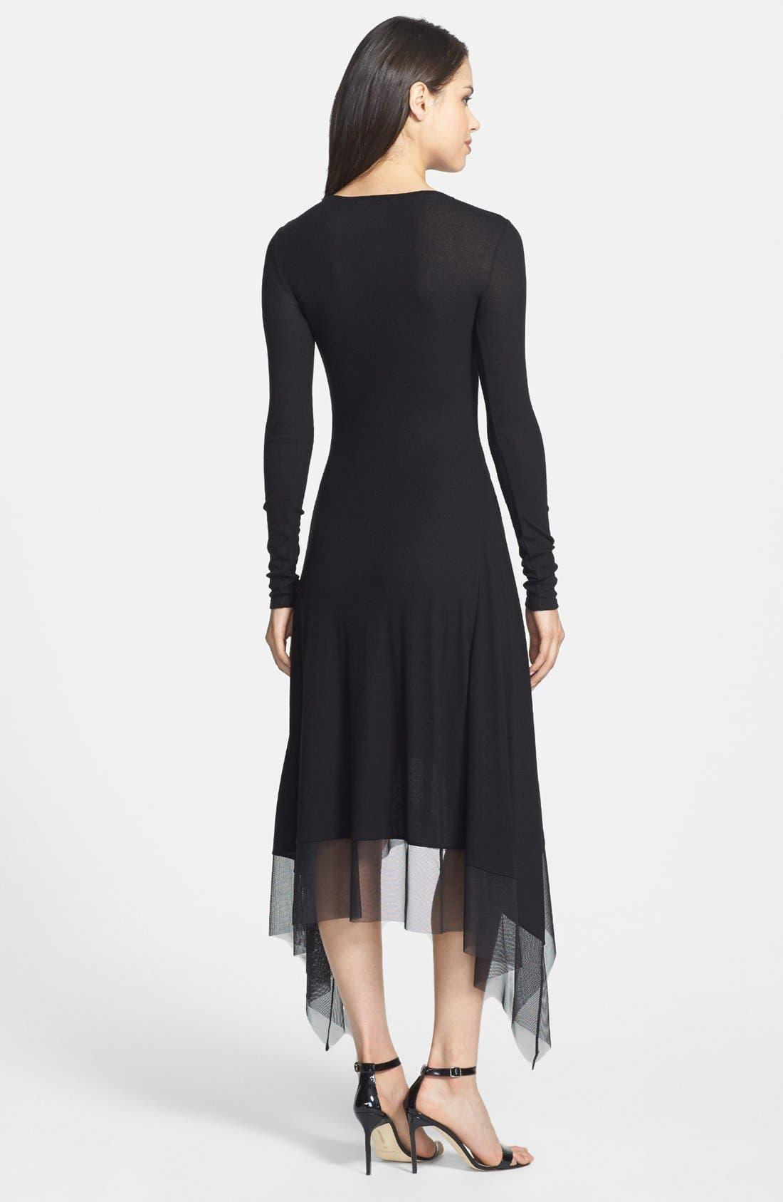 Alternate Image 2  - BCBGMAXARIA Tulle Hem Jersey Midi Dress