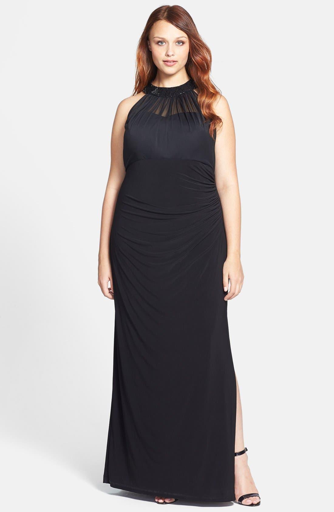 Main Image - Xscape Long Stretch Knit Dress (Plus Size)