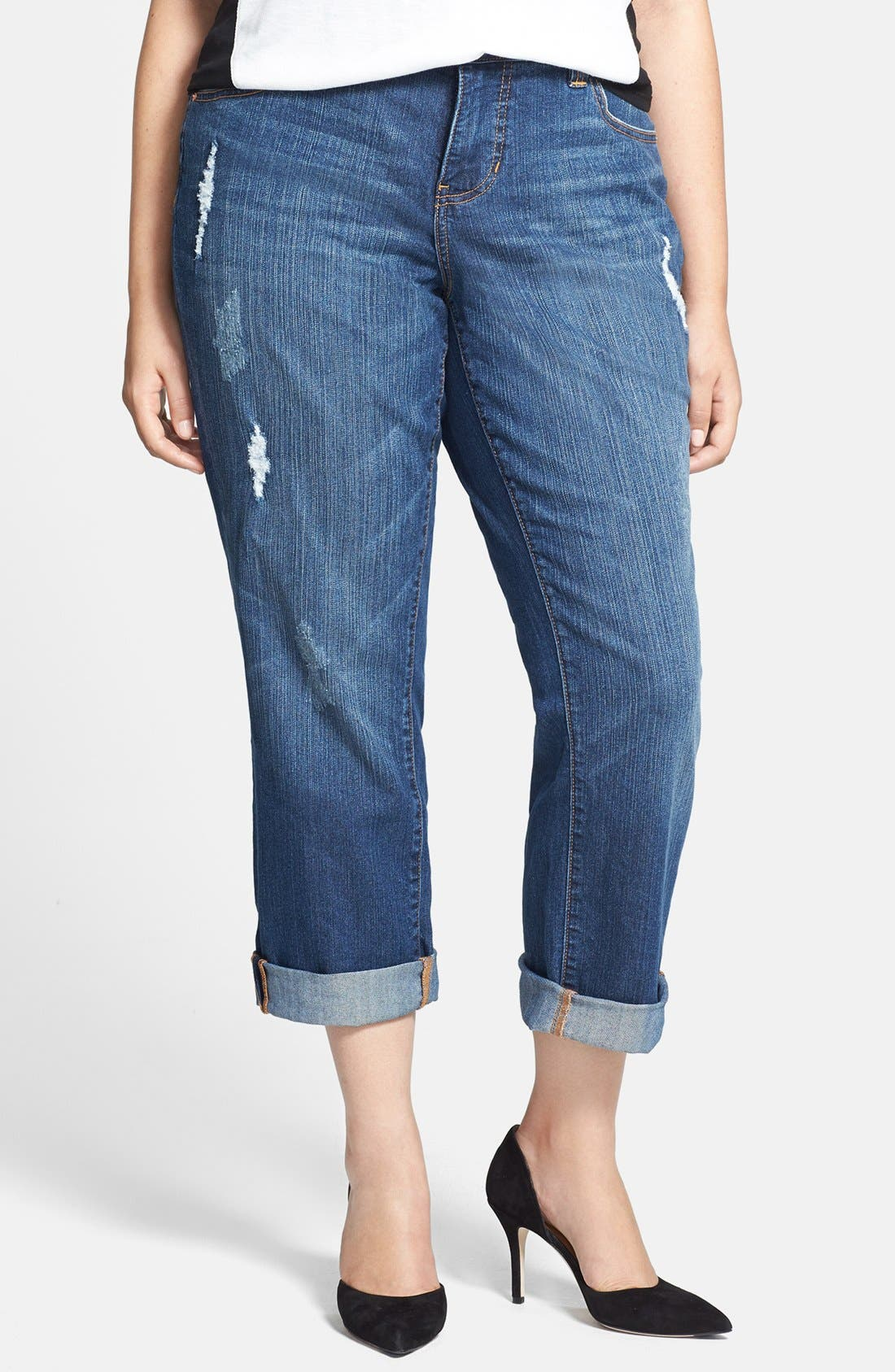 Alternate Image 1 Selected - Jag Jeans 'Henry' Destroyed Boyfriend Jeans (Reservoir) (Plus Size)