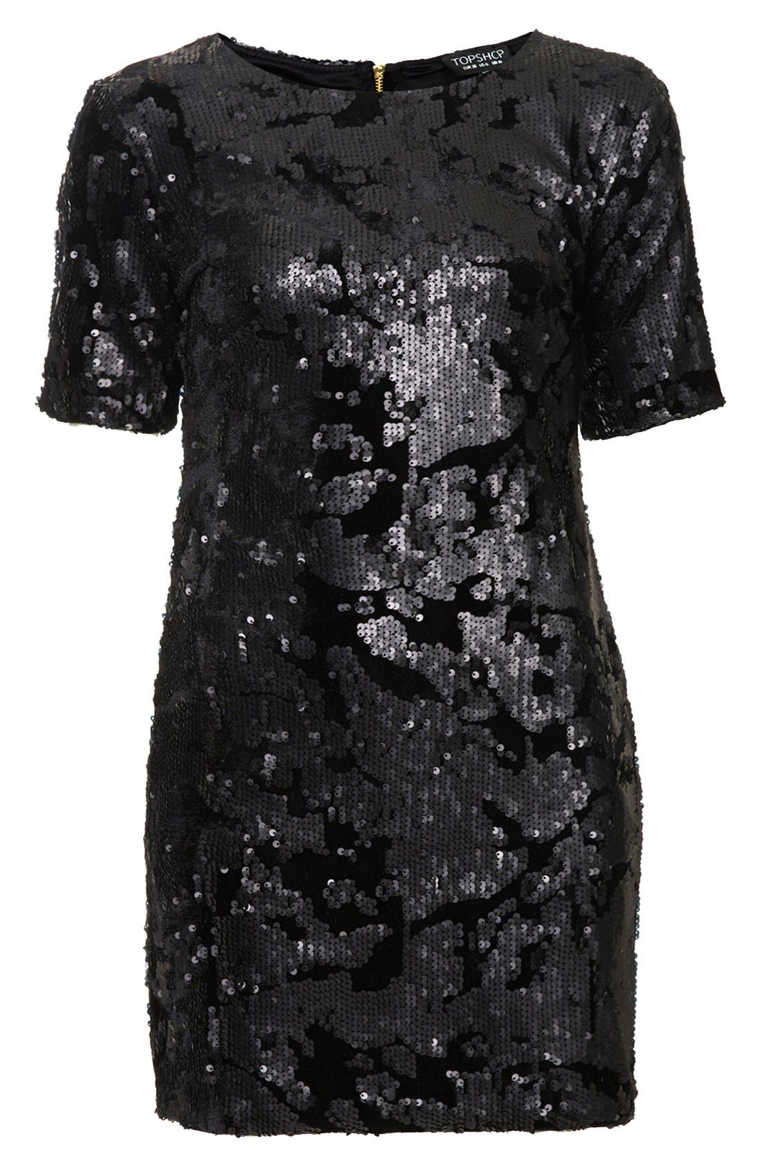 Alternate Image 3  - Topshop Sequin Velvet Shift Dress