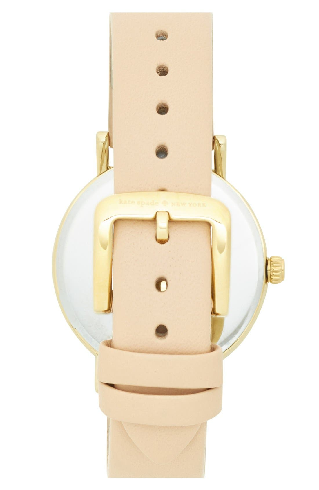 Alternate Image 2  - kate spade new york 'metro' round leather strap watch, 34mm