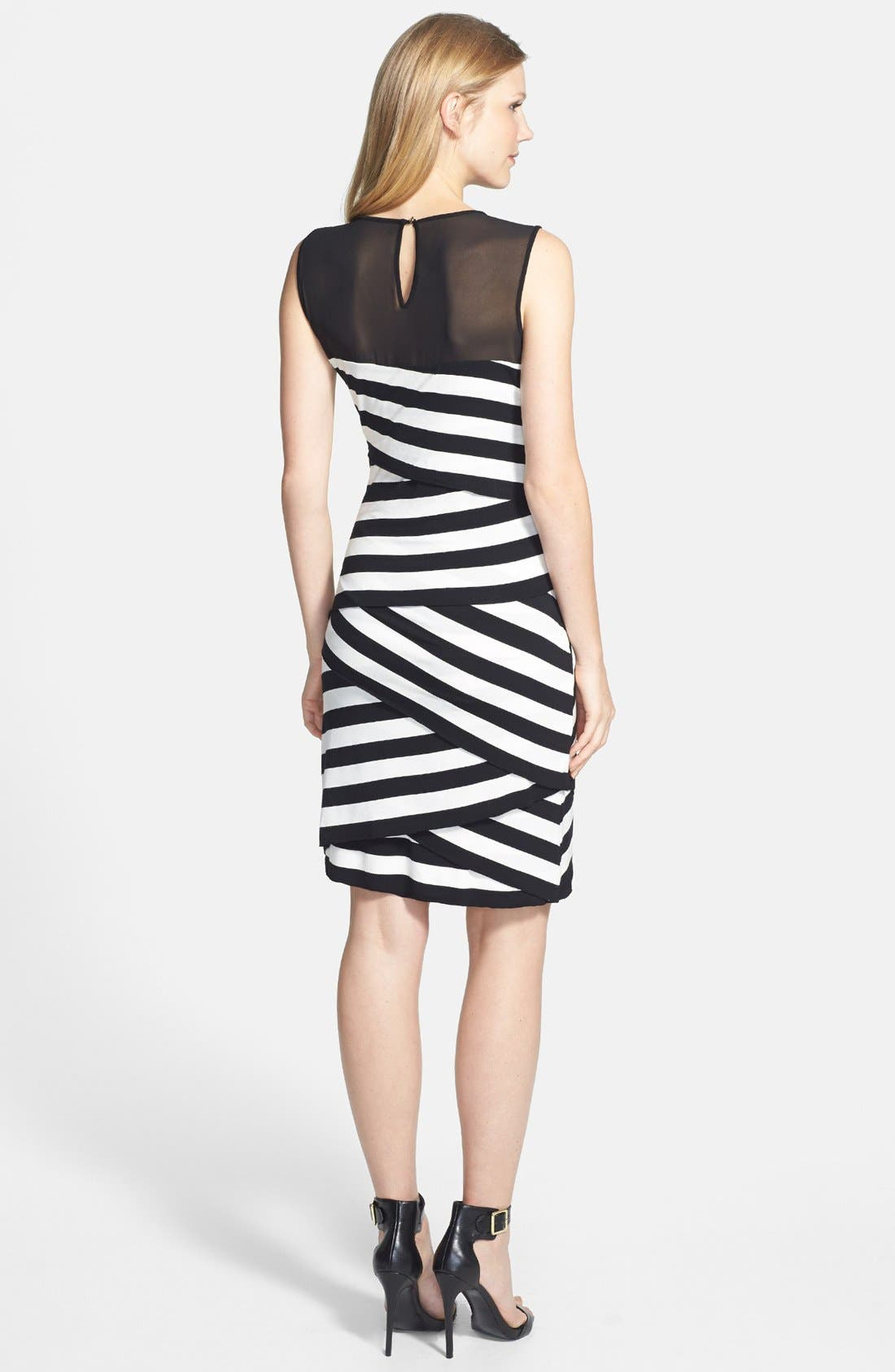 Alternate Image 3  - Vince Camuto 'Café Stripe' Sheer Inset Zigzag Dress