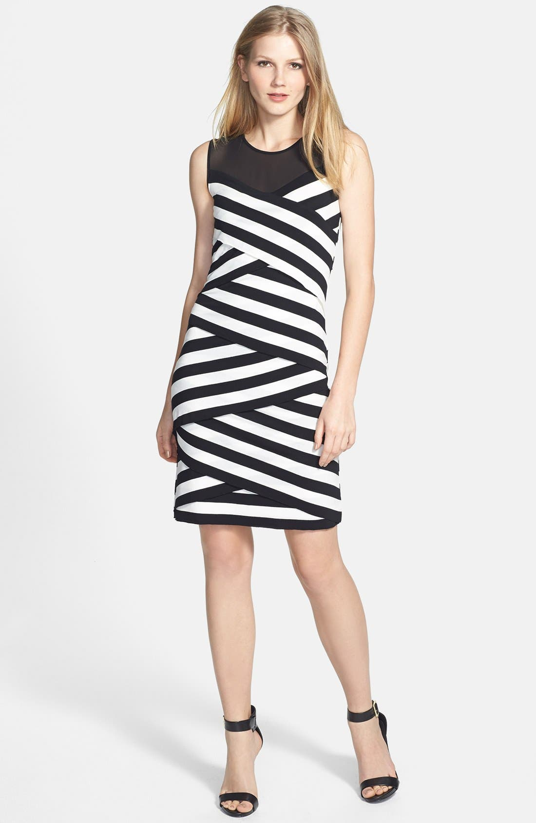 Alternate Image 2  - Vince Camuto 'Café Stripe' Sheer Inset Zigzag Dress