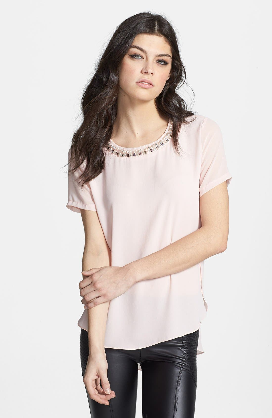 Alternate Image 1 Selected - ASTR Embellished Neck Chiffon Tee