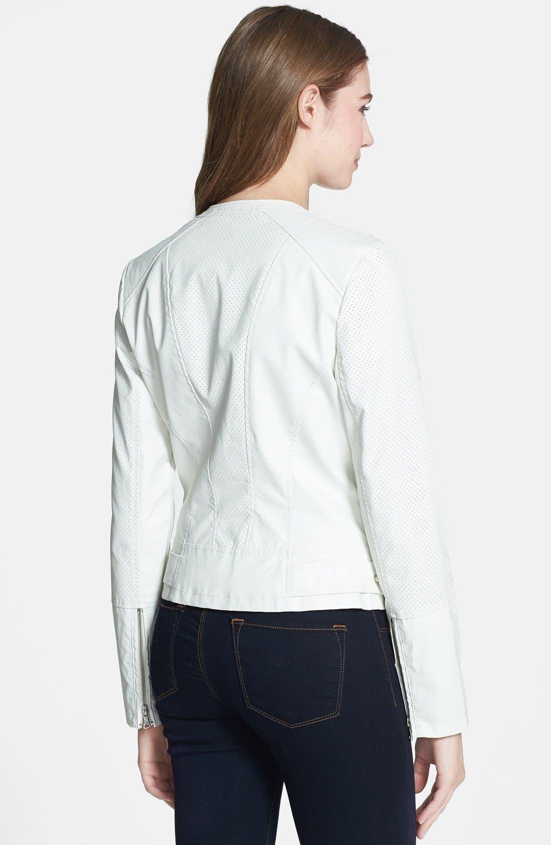 Alternate Image 2  - Bernardo Asymmetrical Perforated Faux Leather Jacket (Online Only) (Regular & Petite)