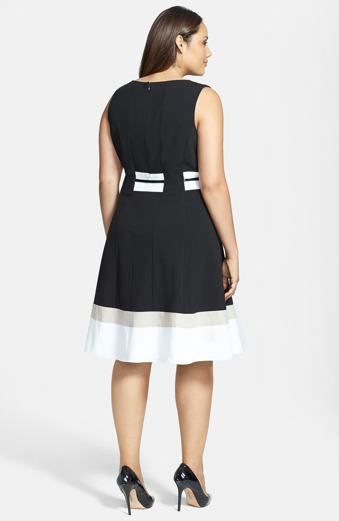 Alternate Image 2  - Calvin Klein Belted Fit and Flare Dress (Plus Size)