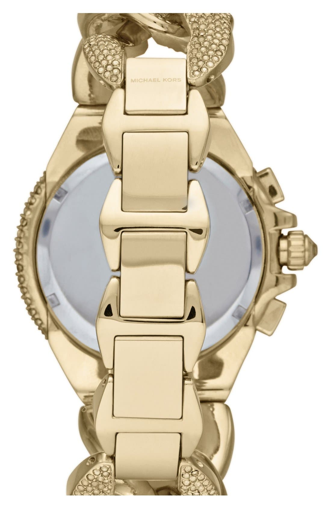 Alternate Image 2  - Michael Kors 'Camille' Crystal Encrusted Chain Link Watch, 44mm