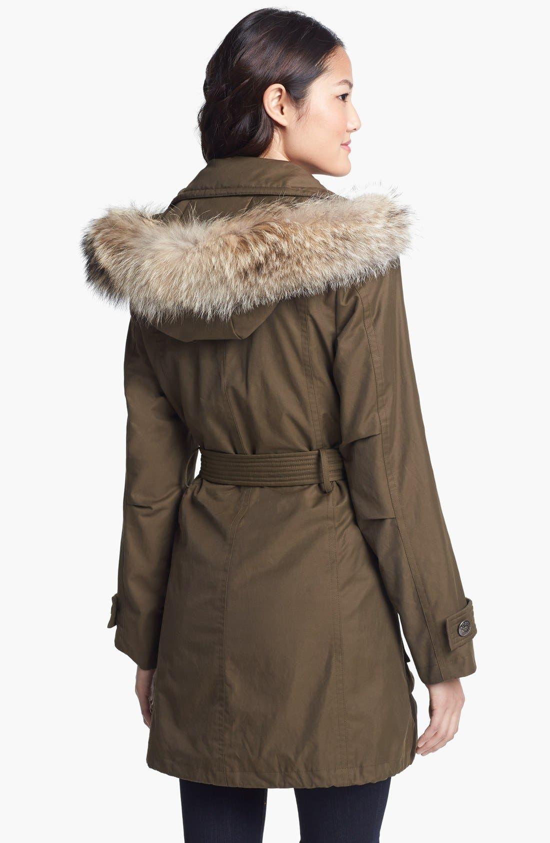 Alternate Image 2  - Trina Turk Genuine Coyote Fur Trim Anorak (Petite)