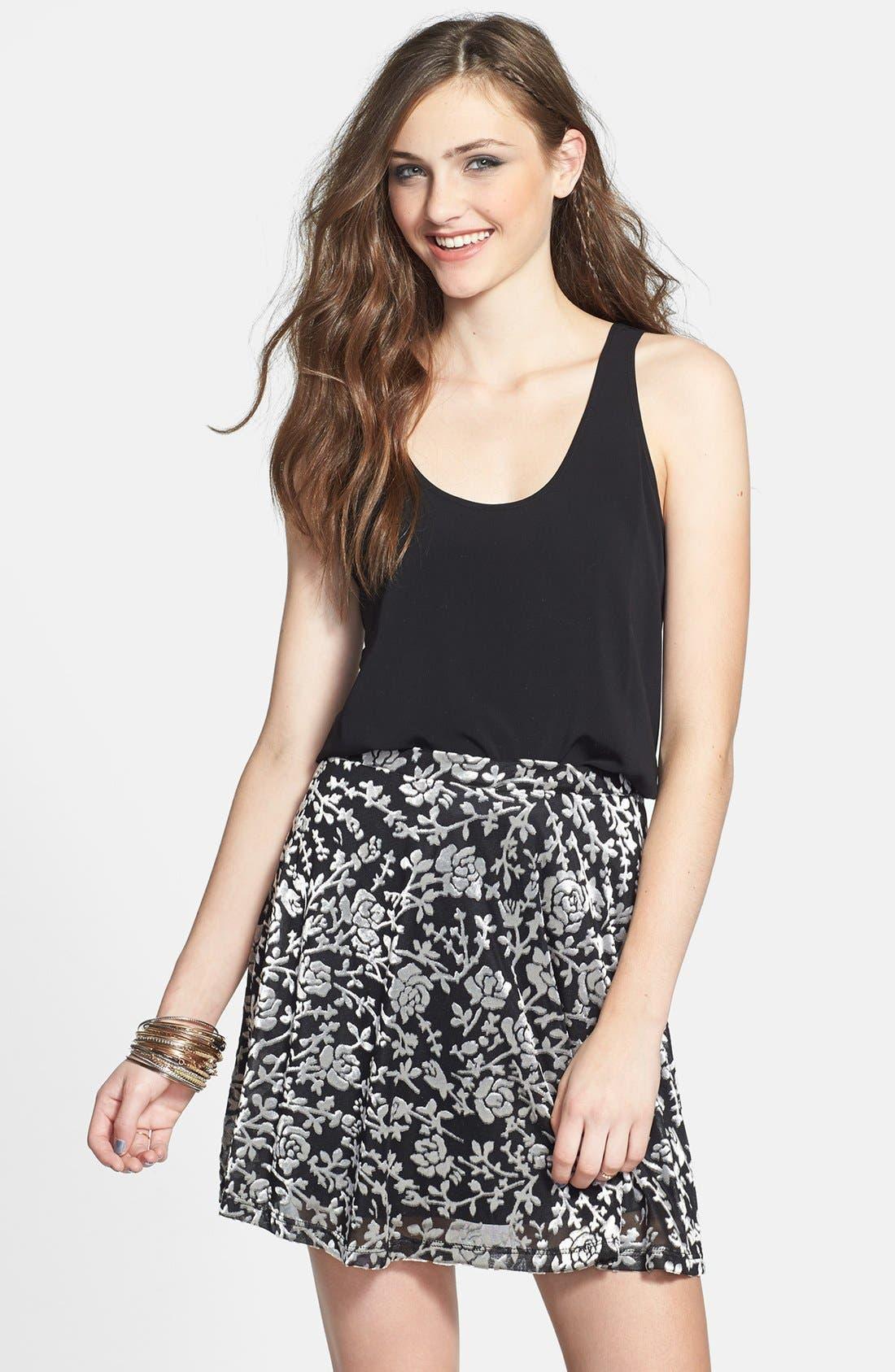 Main Image - Lily White Floral Velvet Skater Skirt (Juniors)