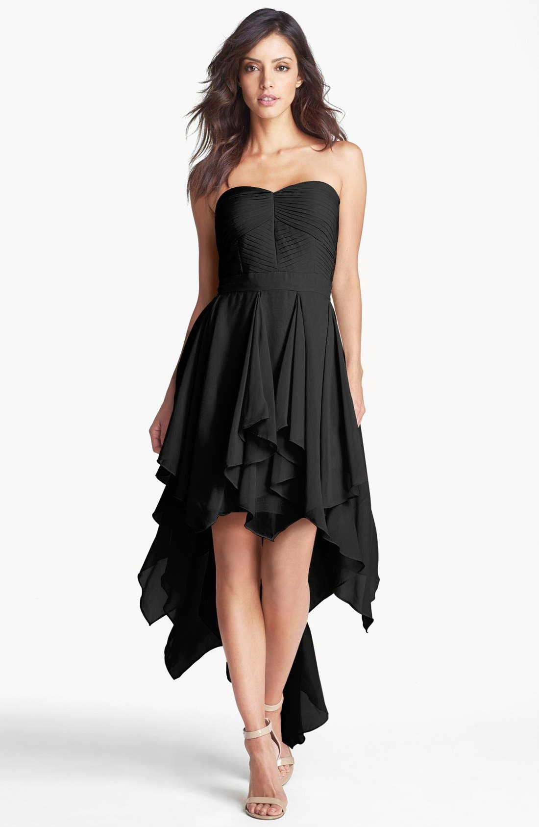 Main Image - Hailey by Adrianna Papell Pleat Chiffon High/Low Dress (Online Only)