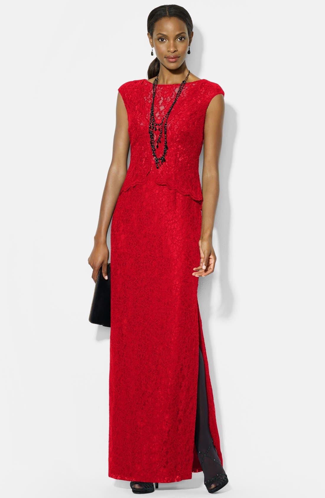 Alternate Image 1 Selected - Lauren Ralph Lauren Lace Gown (Regular & Petite)