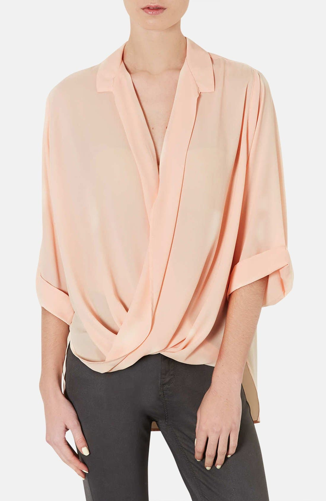 Alternate Image 1 Selected - Topshop Drape Front Chiffon Blouse