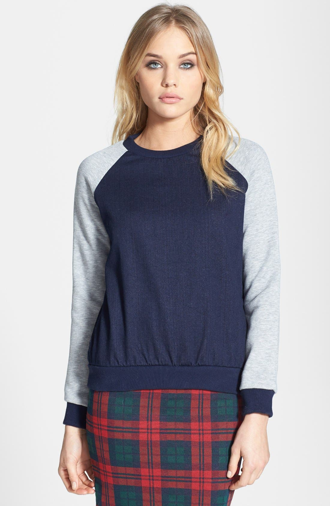 Alternate Image 1 Selected - Topshop Moto Raglan Sleeve Denim Sweatshirt