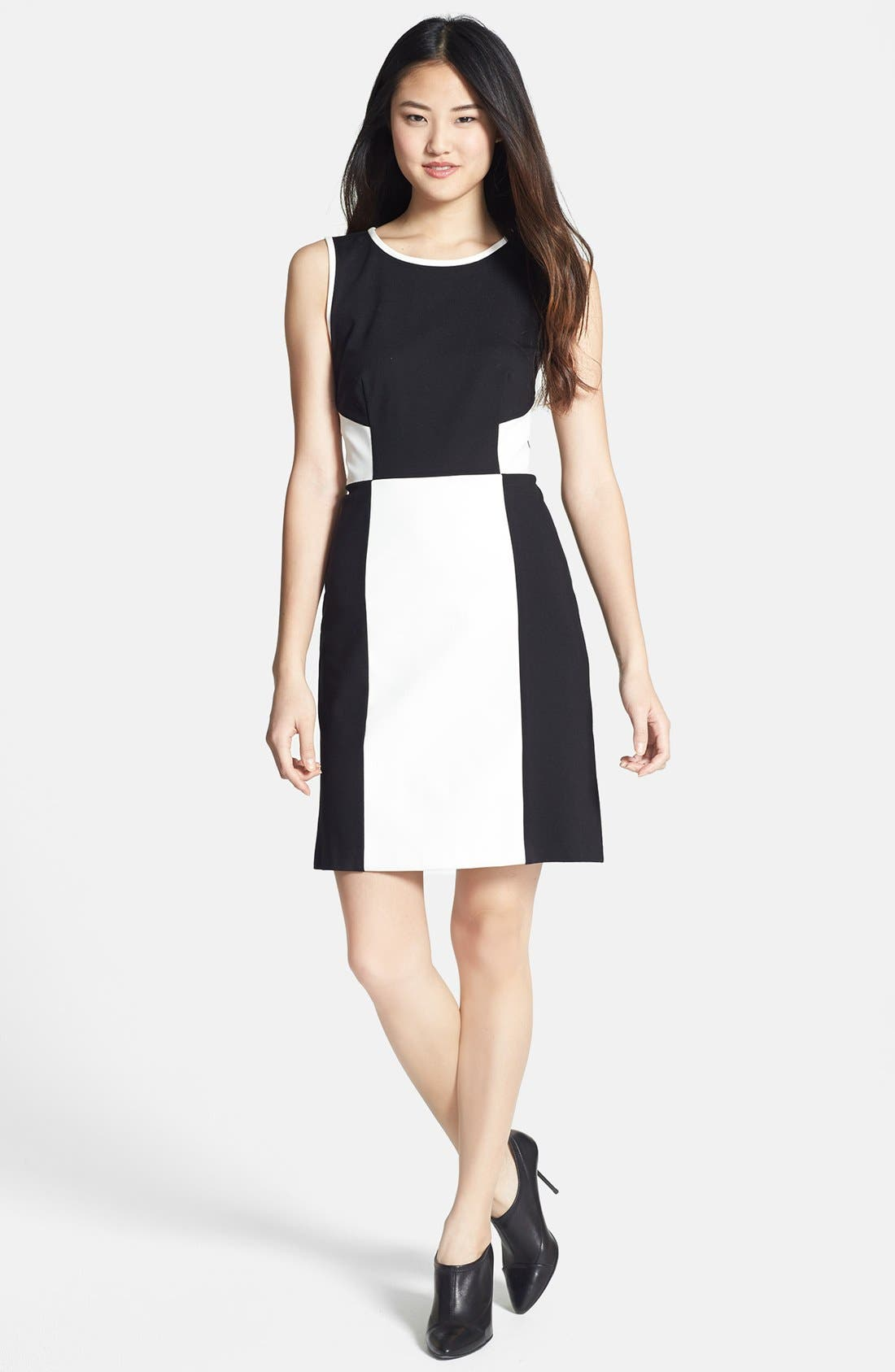 Main Image - DKNYC Colorblock Faux Leather & Ponte Dress