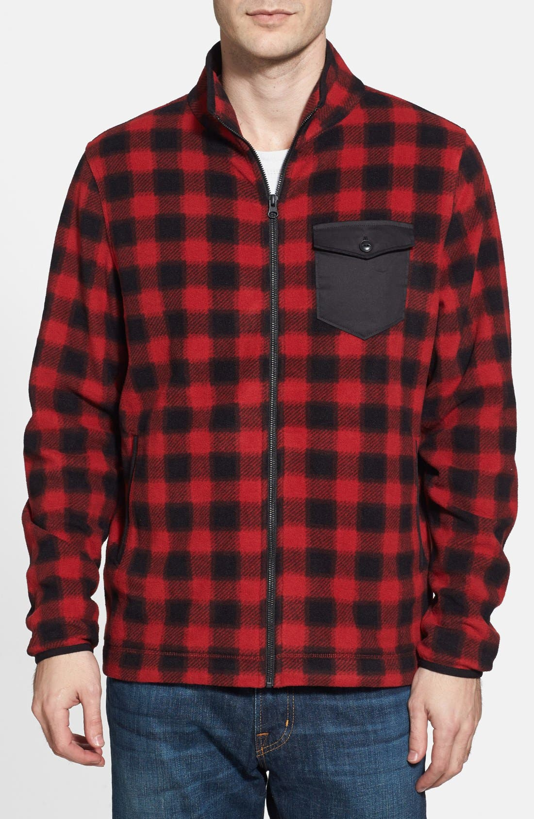 Alternate Image 1 Selected - Wallin & Bros. Trim Fit Plaid Full Zip Fleece