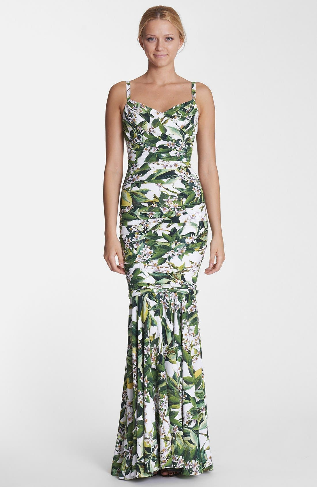 Alternate Image 1 Selected - Dolce&Gabbana Lemon Print Ruched Gown