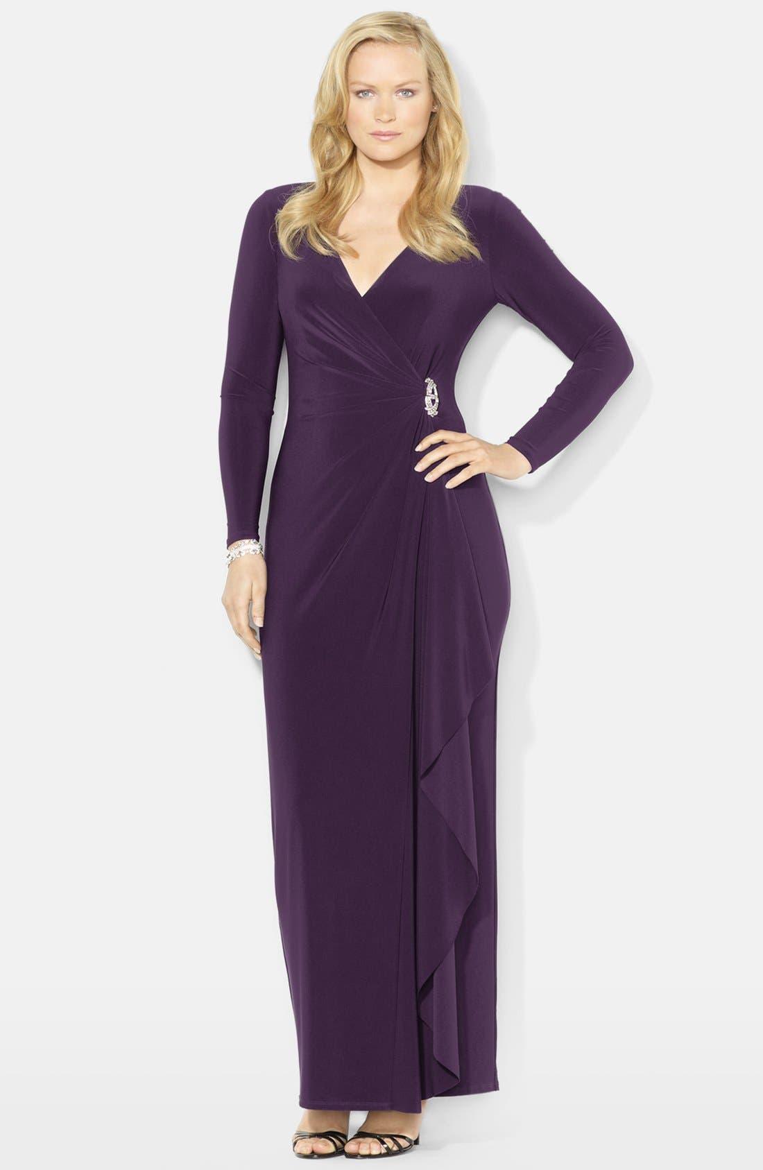 Main Image - Lauren Ralph Lauren Side Ruffle Matte Jersey Gown (Plus Size)