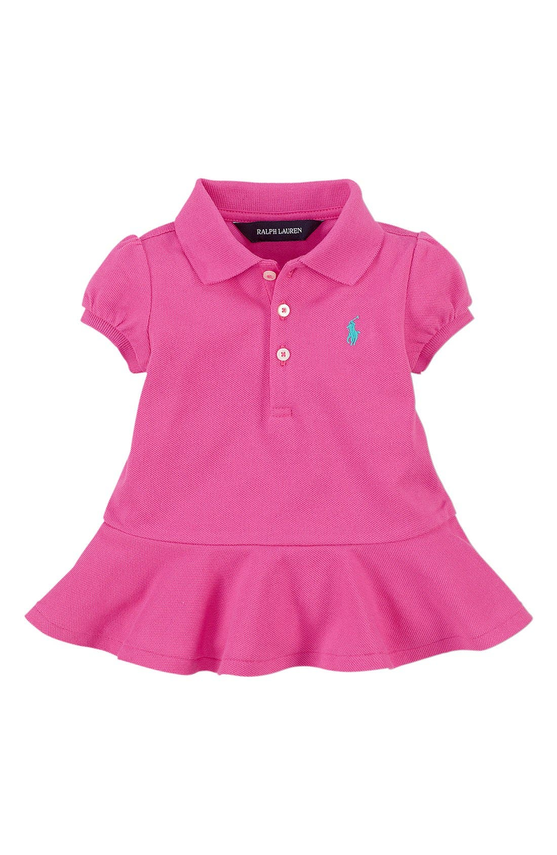Alternate Image 1 Selected - Ralph Lauren Cotton Peplum Top (Baby Girls)