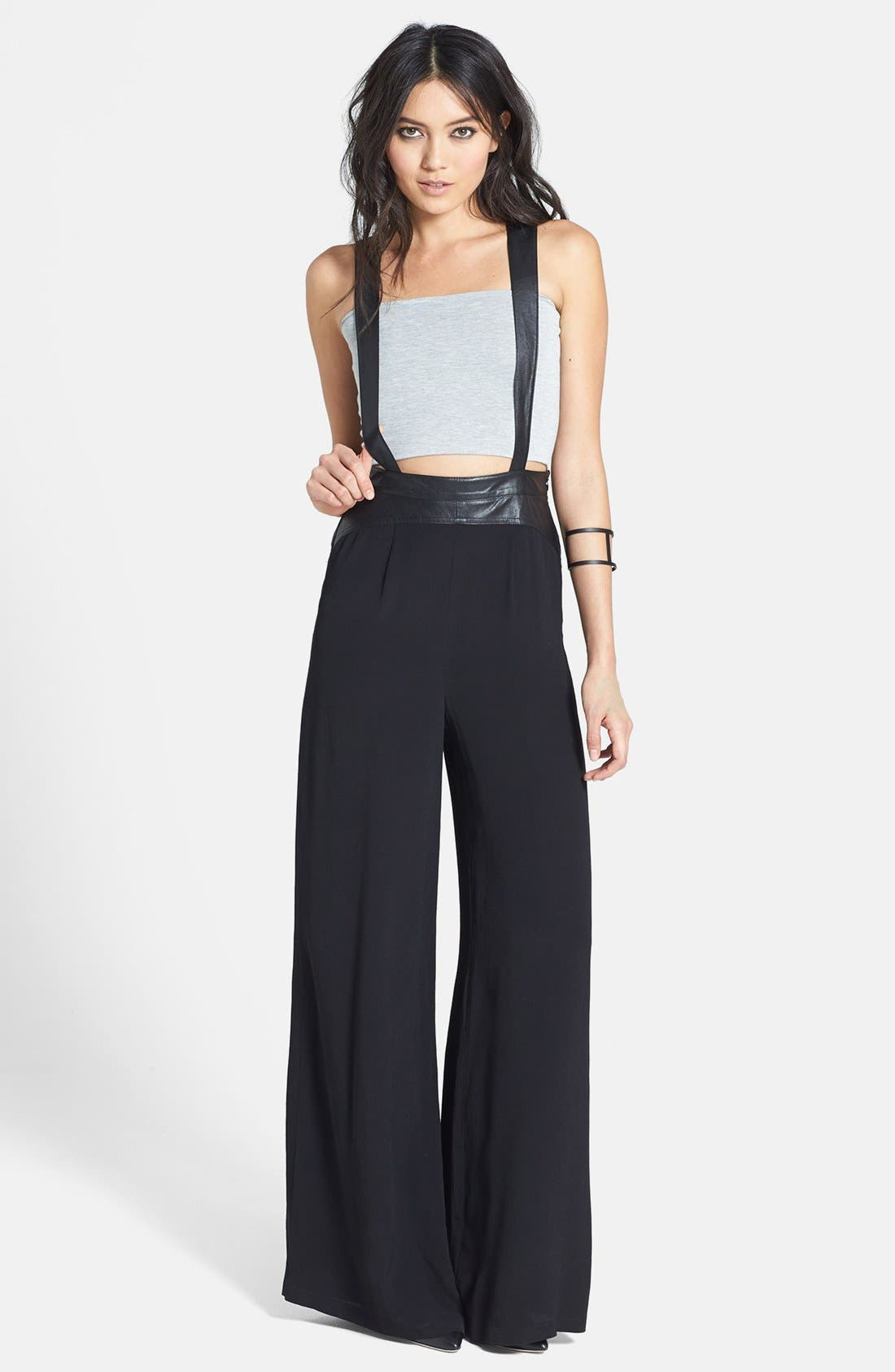 Alternate Image 1 Selected - ASTR Faux Leather Trim Suspender Pants