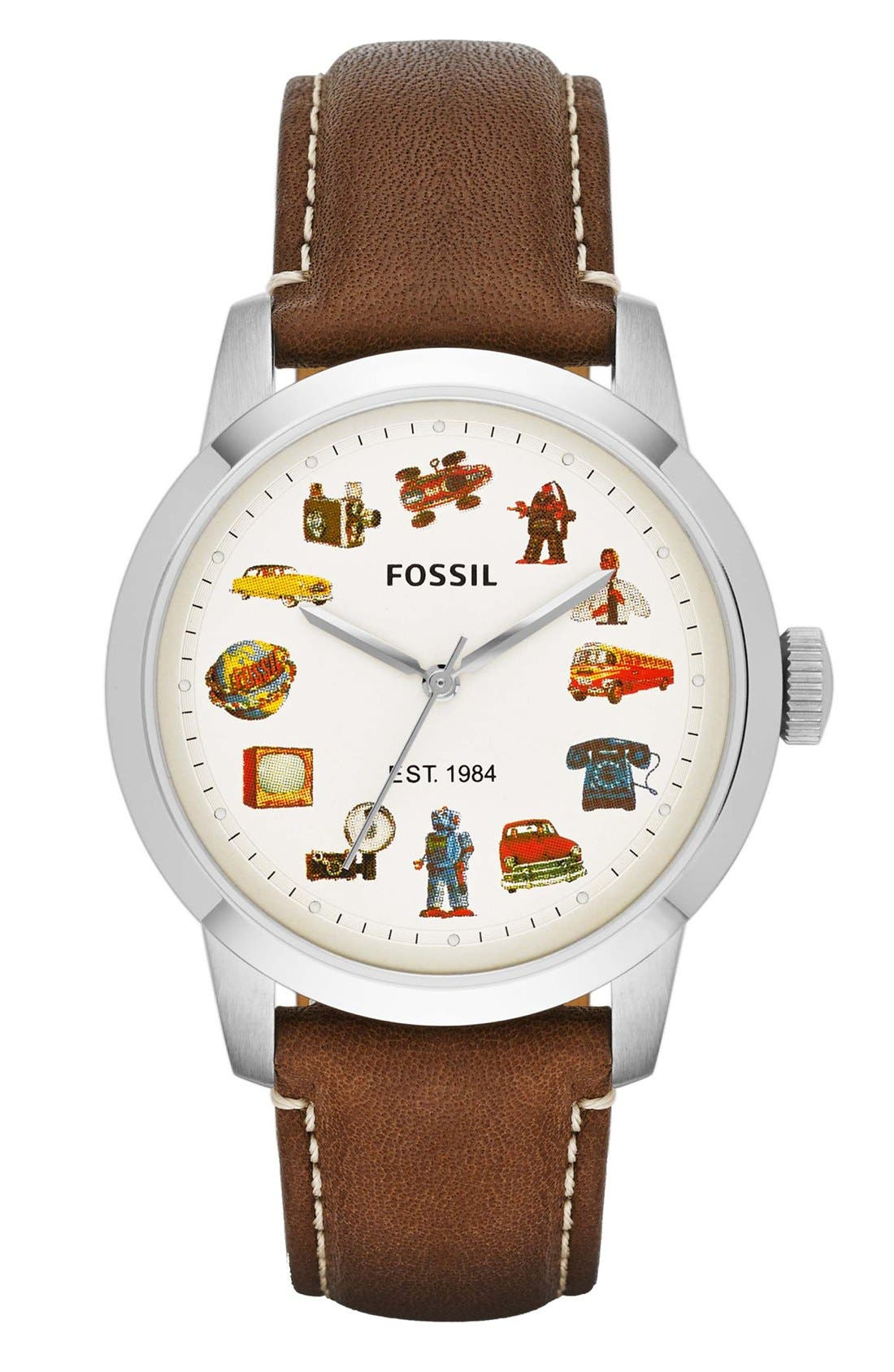 Alternate Image 1 Selected - Fossil 'Townsman' Graphic Index Leather Strap Watch, 40mm (Limited Edition)