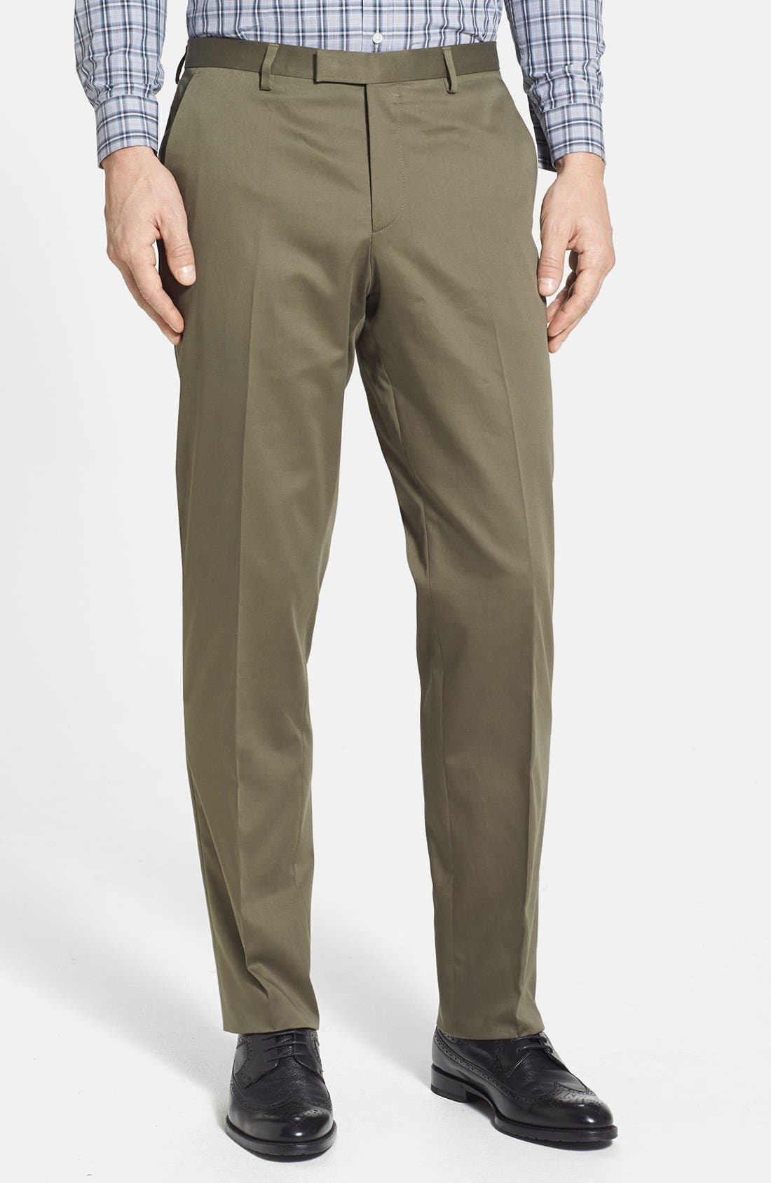 Main Image - BOSS HUGO BOSS 'Sharp' Flat Front Stretch Cotton Trousers