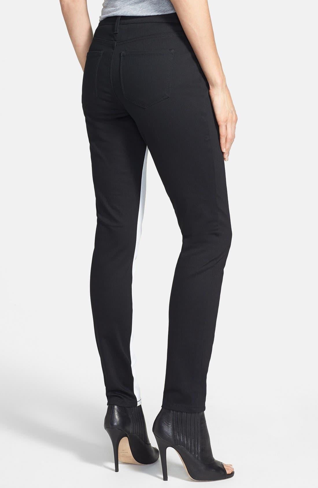 Alternate Image 2  - NYDJ 'Aurora' Two-Tone Stretch Skinny Jeans (Optic White/Black)