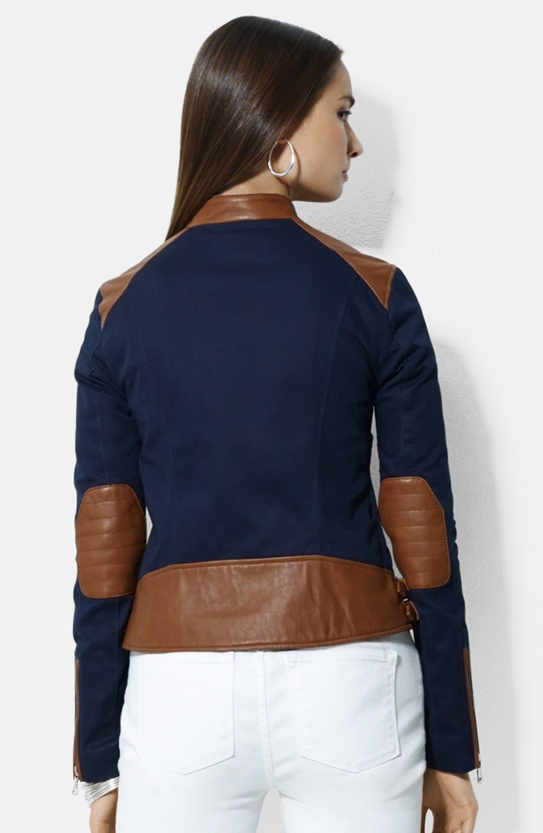 Alternate Image 2  - Lauren Ralph Lauren Asymmetrical Two-Tone Cotton & Leather Moto Jacket