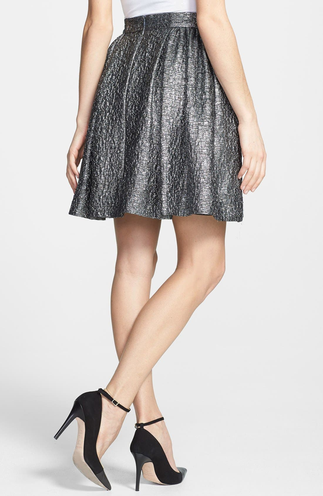 Alternate Image 2  - kate spade new york 'aimee' metallic textured pleat skirt