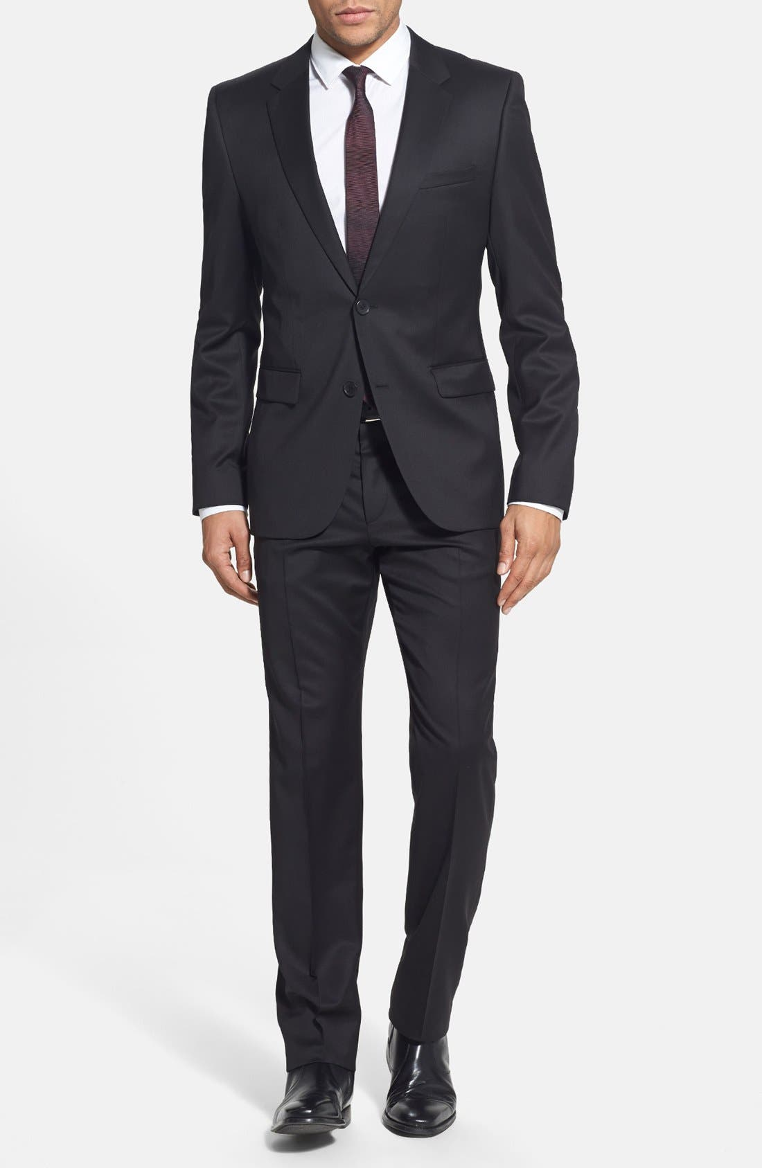Main Image - HUGO 'Aeron/Hamen - Super Black' Extra Trim Fit Wool Suit