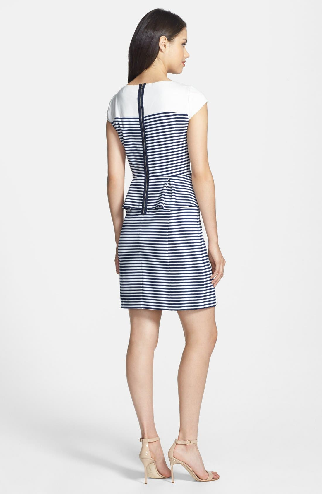 Alternate Image 3  - Ivy & Blu Stripe Ponte Knit Peplum Dress