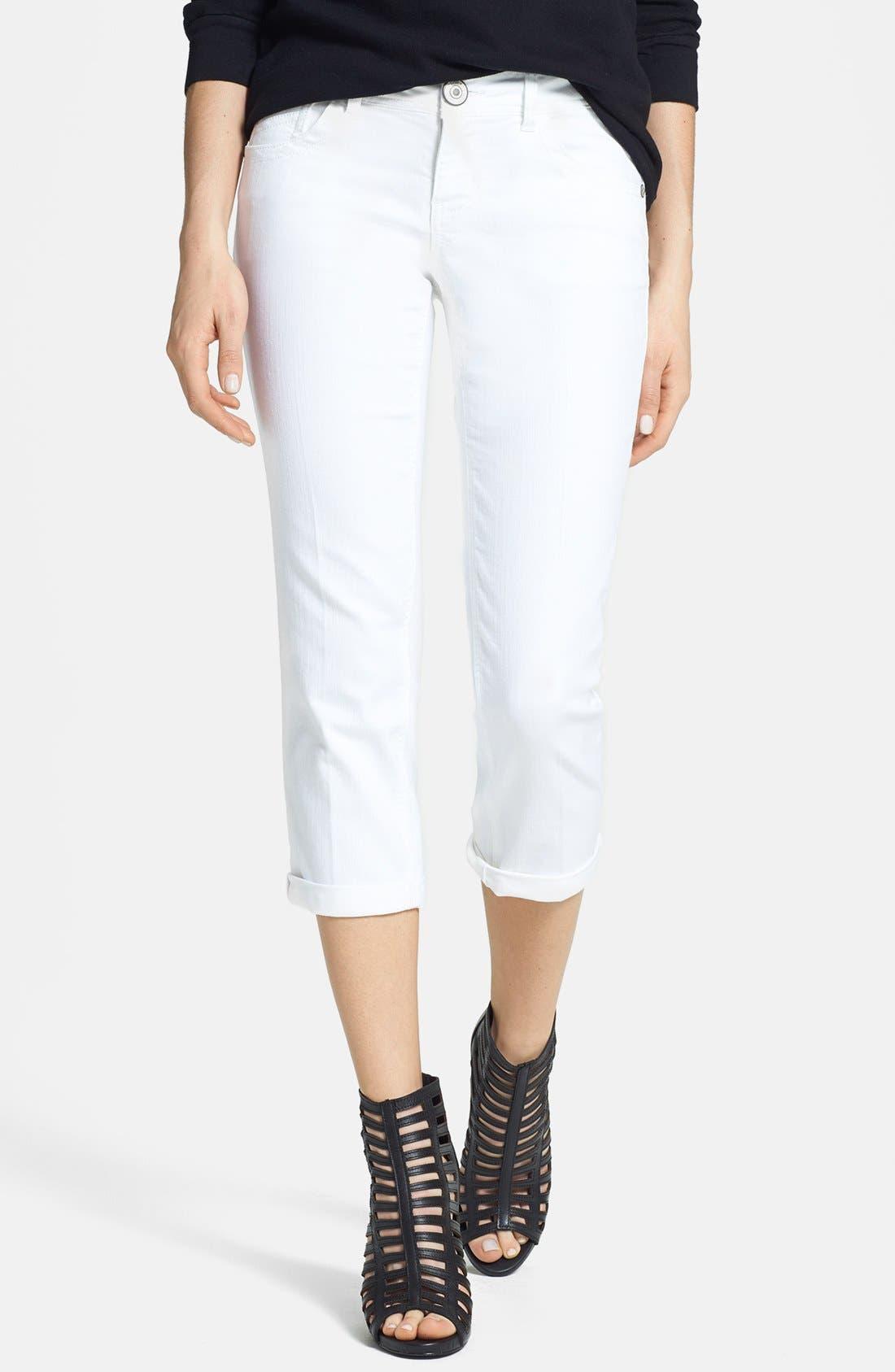 Main Image - Jolt Crop Jeans (White) (Juniors) (Online Only)