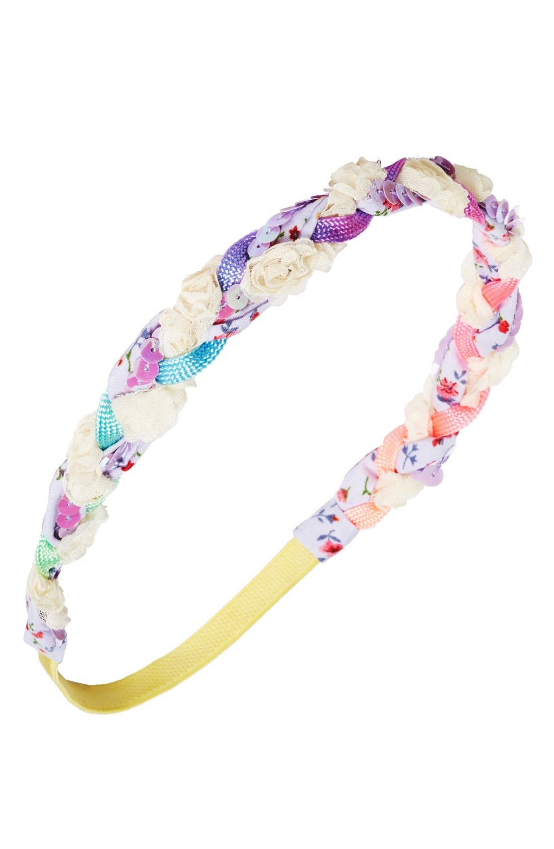 Alternate Image 1 Selected - The Accessory Collective Sequin Braid Head Wrap (Girls)