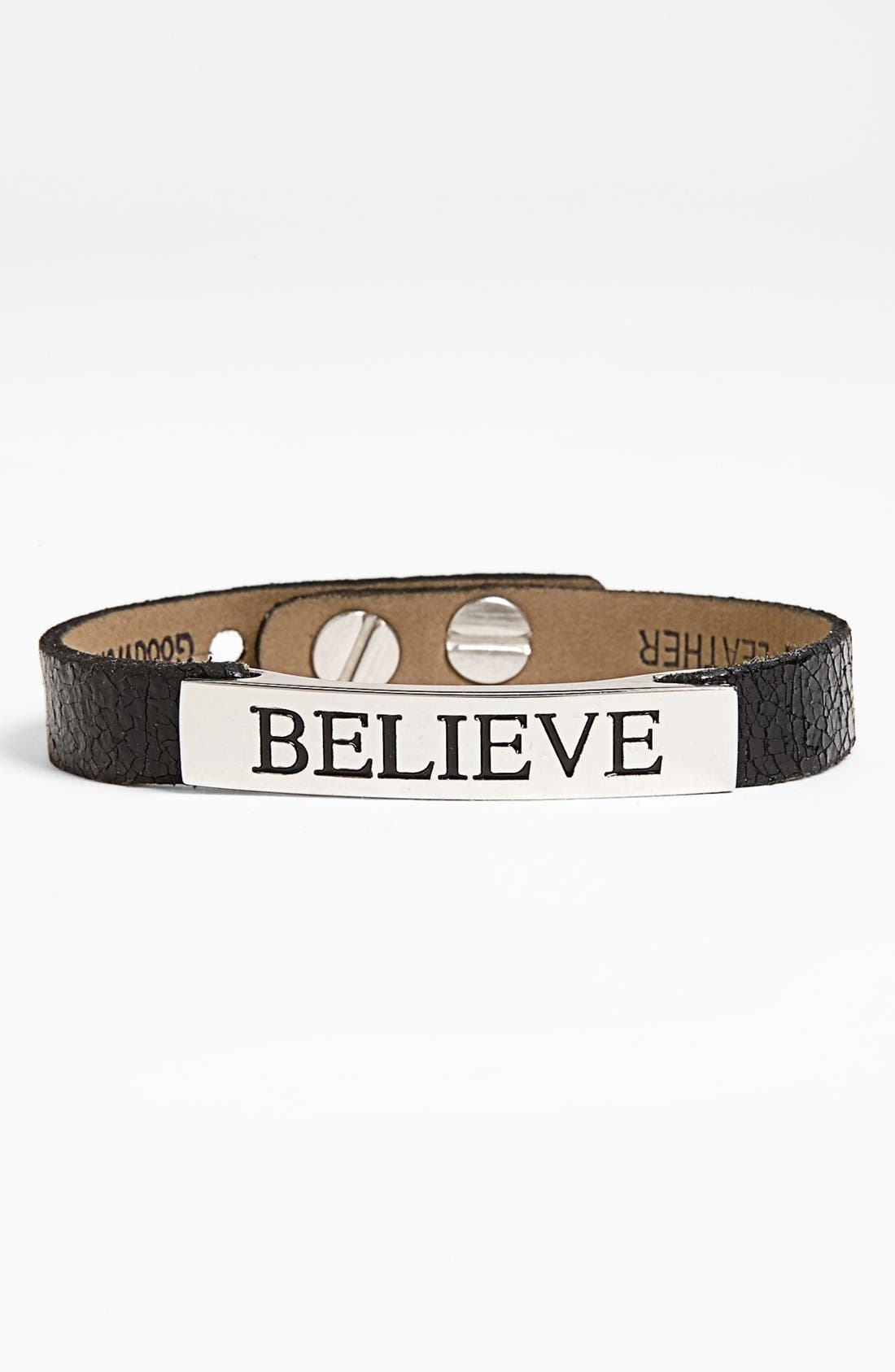 Alternate Image 1 Selected - Good Work(s) Make A Difference 'Life Inspiration' Leather Bracelet