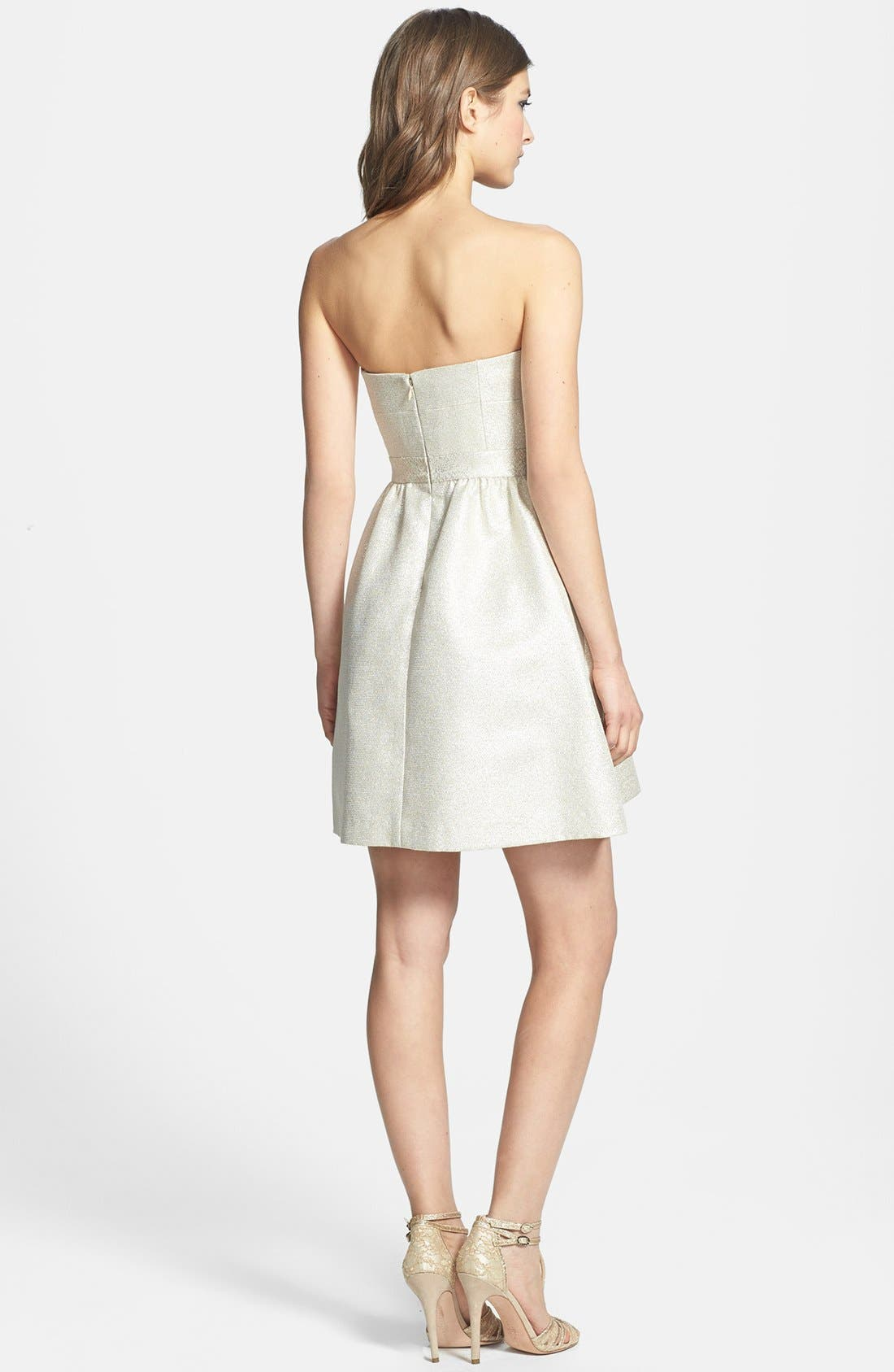 Alternate Image 2  - Aidan by Aidan Mattox Strapless Shimmer Jacquard Dress
