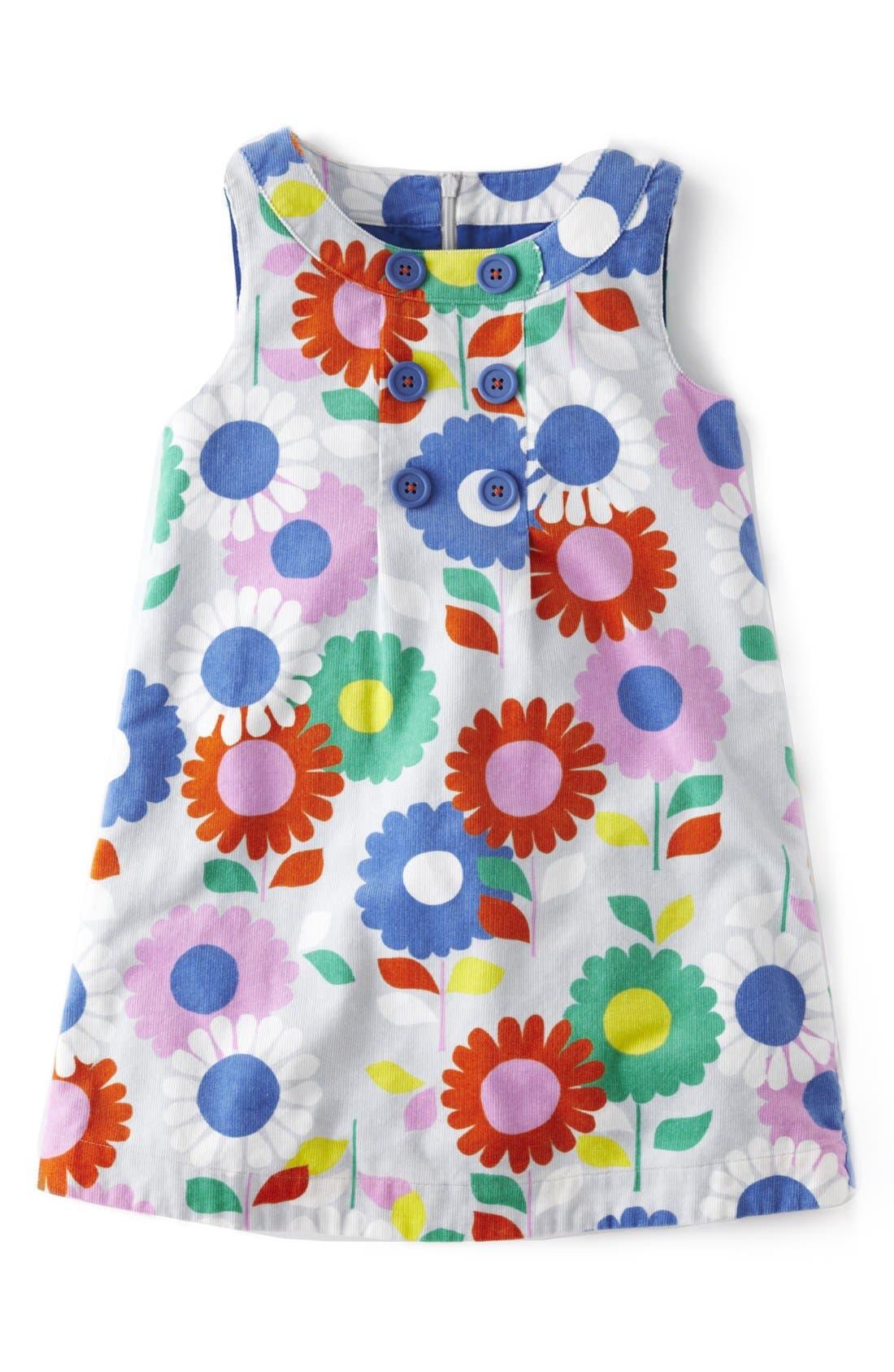 Alternate Image 1 Selected - Mini Boden Button Pinafore Dress (Toddler Girls, Little Girls & Big Girls)