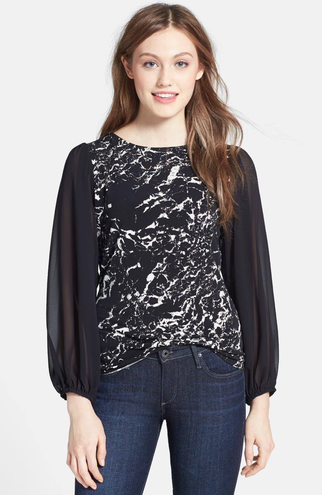 Main Image - Vince Camuto Marble Print Chiffon Sleeve Knit Top