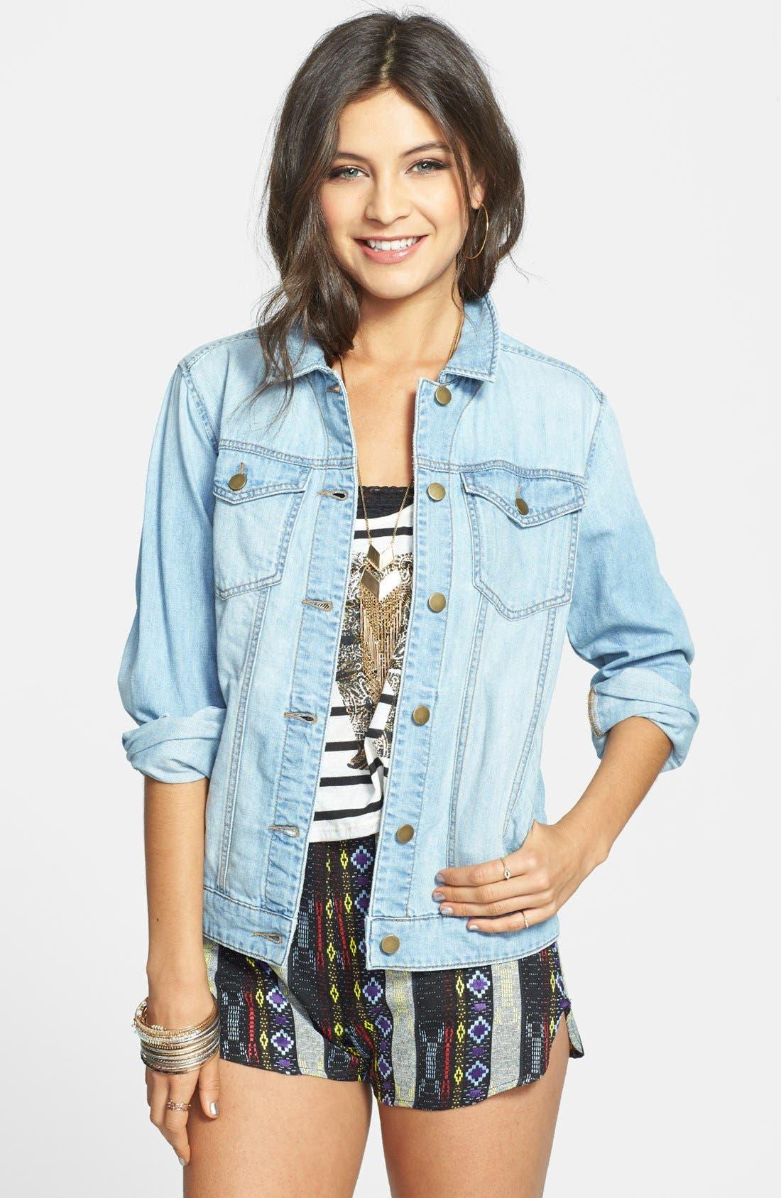 Main Image - BP. Oversized Denim Jacket (Juniors)