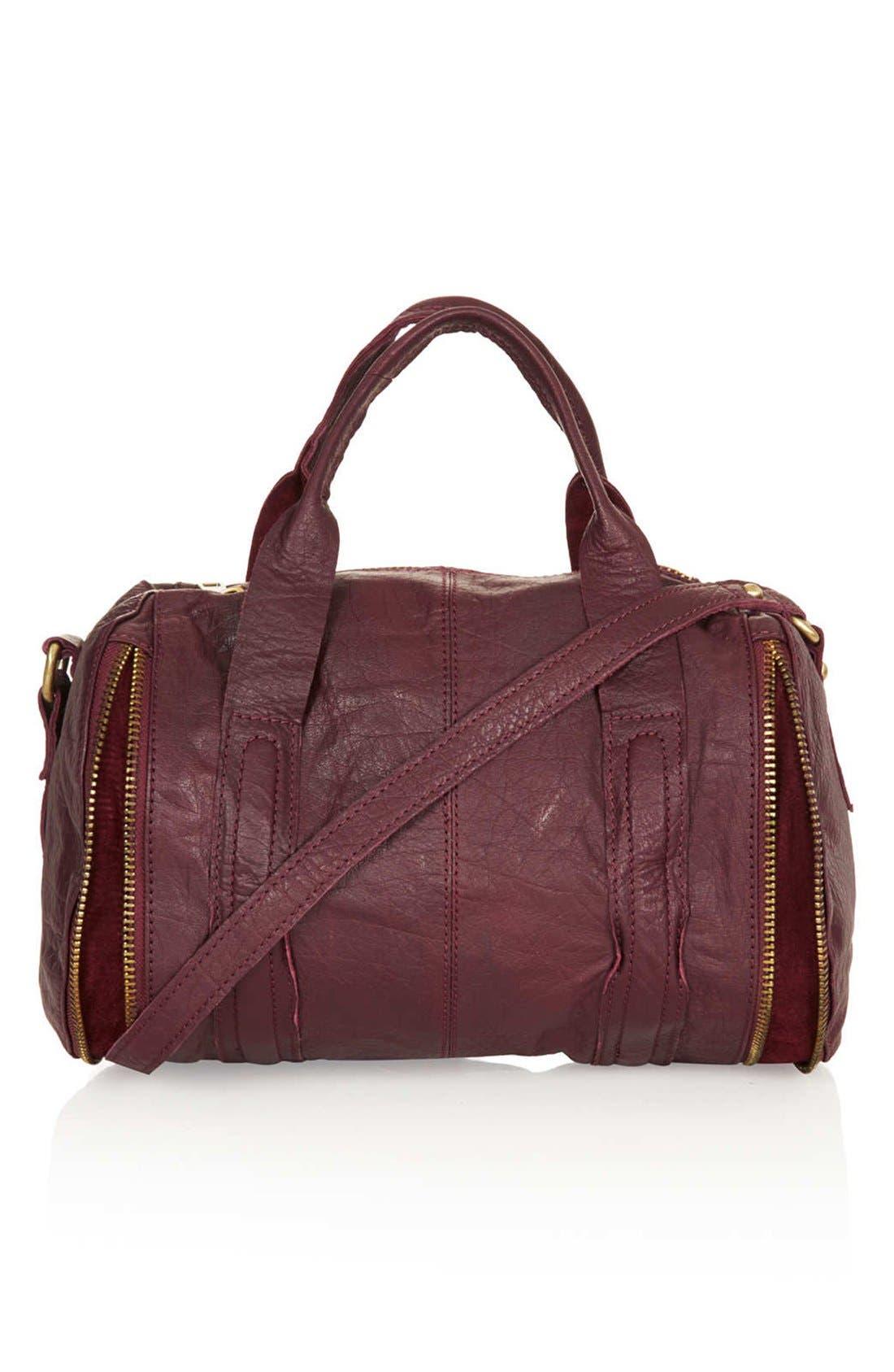 Alternate Image 1 Selected - Topshop Leather Zip Barrel Bag