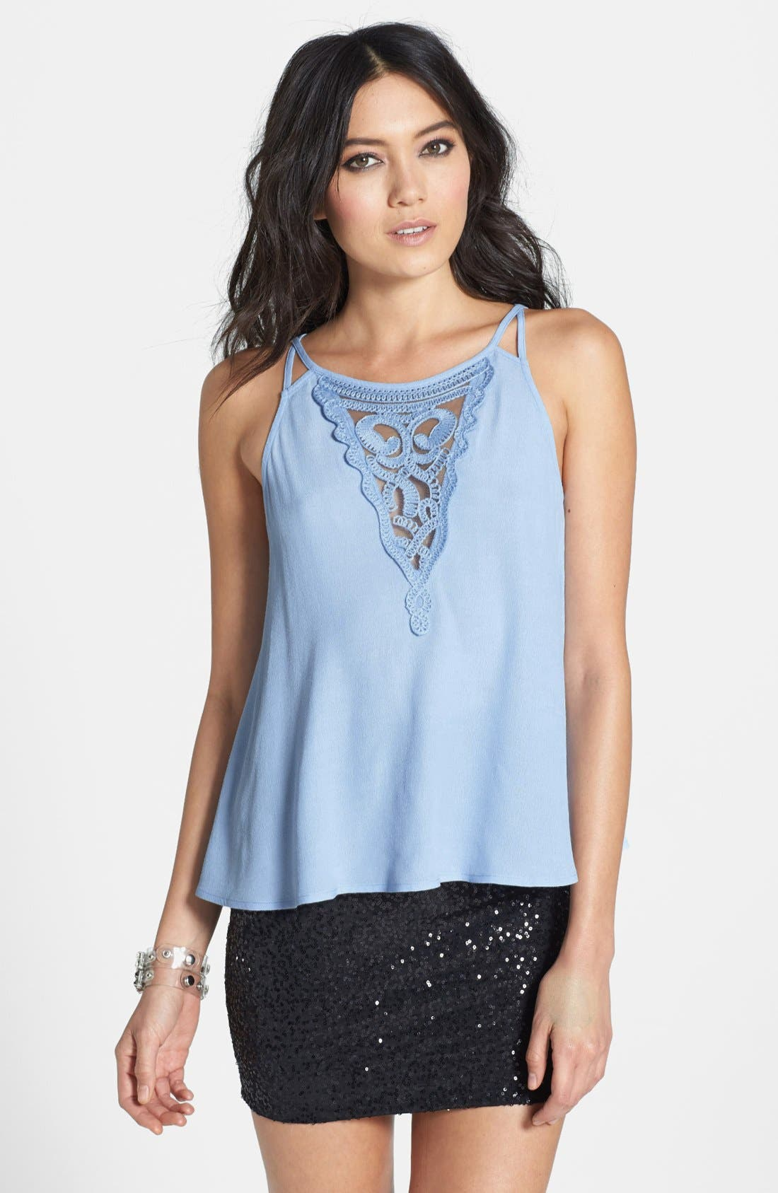Main Image - ASTR Embroidered Inset Silk Blend Tank