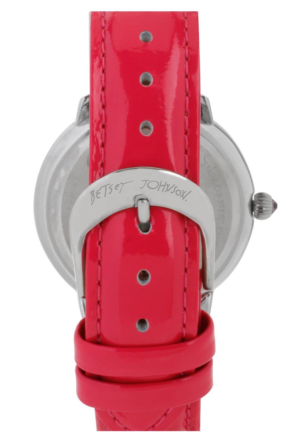 Alternate Image 2  - Betsey Johnson Multicolor Crystal Bezel Leather Strap Watch, 38mm