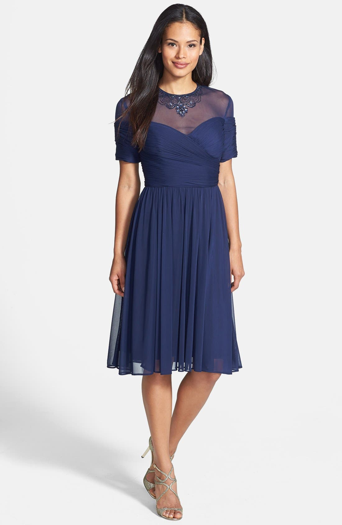Alternate Image 3  - Alex Evenings Embellished Illusion Yoke Chiffon Fit & Flare Dress (Regular & Petite)