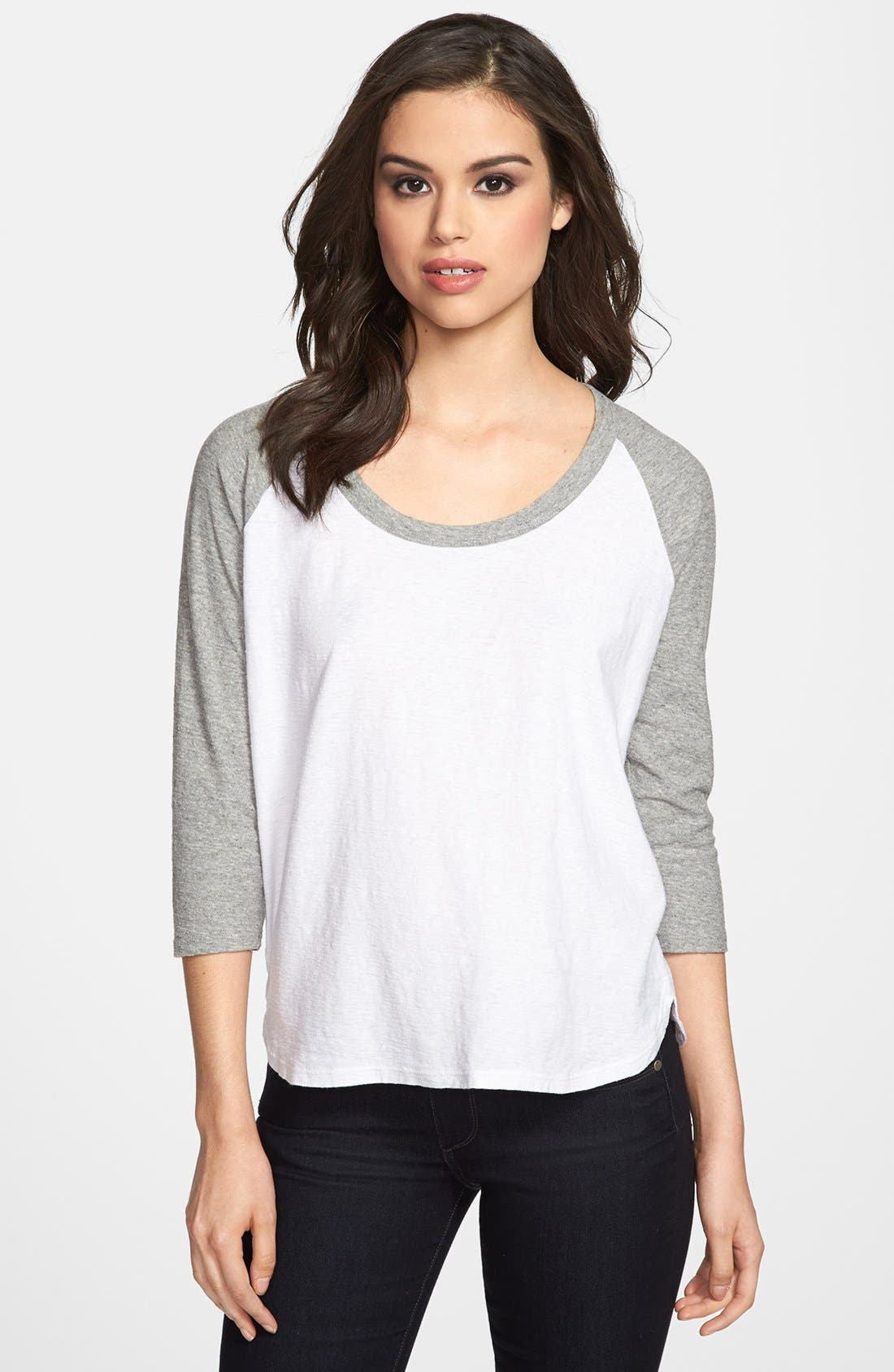 Alternate Image 1 Selected - James Perse Curved Hem Baseball Tee