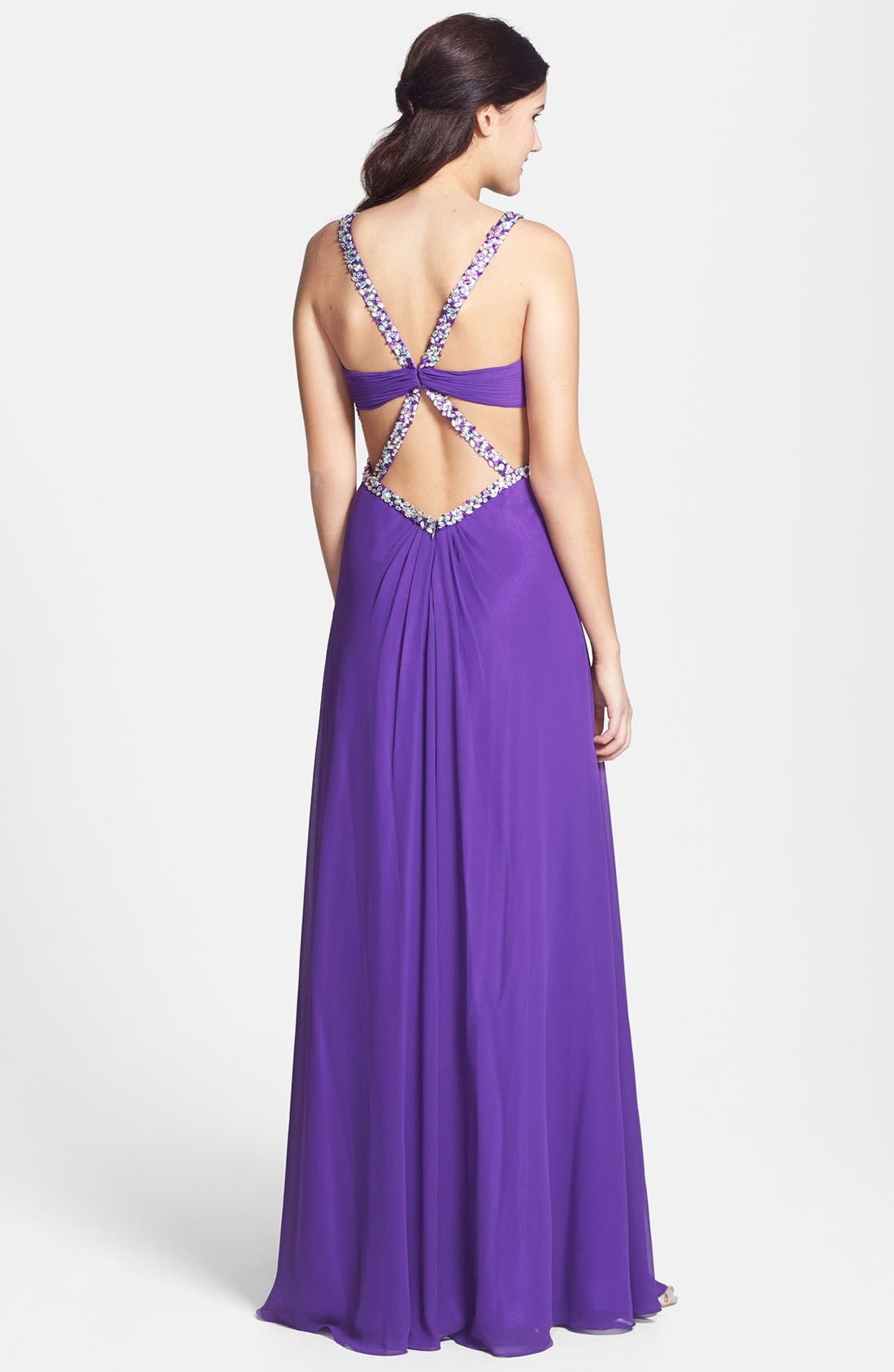 Alternate Image 2  - Faviana Embellished Front Twist Chiffon Gown (Online Exclusive)